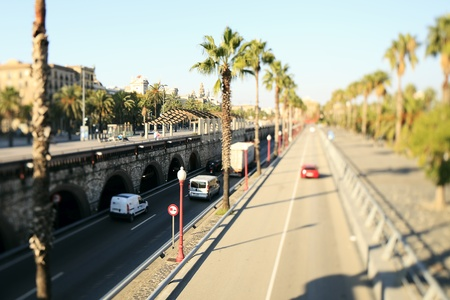 carriageway: Tree lined dual lane motorway in Barcelona , with vehicles in transportation .