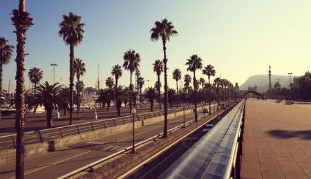 Barcelona, Spain, palm tree lined boulevard promenda panorama in summer Stock Photo - 10912451