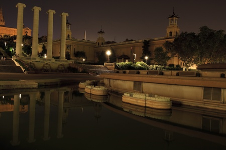 reflected: Night scene with reflections in the fountains at National Art Museum of Catalonia in Barcelona Editorial