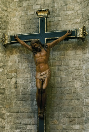 Jesus Christ on  cross in a catholic cathedral