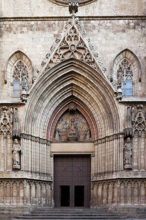 Imposing medieval gothic entrance of Santa Maria del Mar Cathedral,Barcelona