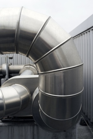 air duct: Closeup  detail of large metal  heating ducts