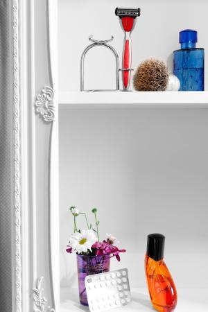 Open bathroom cabinet  photo