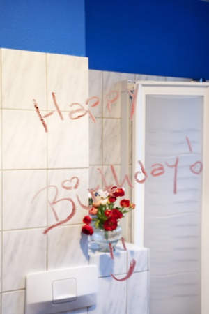 Birthday greeting on the mirror photo