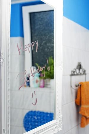 Happy birthday on mirror Stock Photo - 14752392