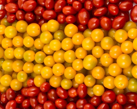 spanish food: Spanish flag formed of cherry tomatoes