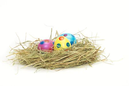 easter nest: Three colorful Easter Eggs in a nest