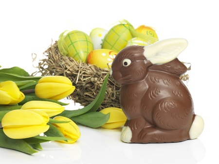 Chocolate rabbit with eggs and Daffodils photo