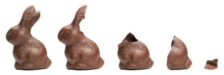 devouring: Chocolate Easter Bunny eating sequence Stock Photo
