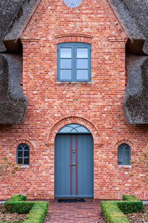 blue door: House entrance with blue door