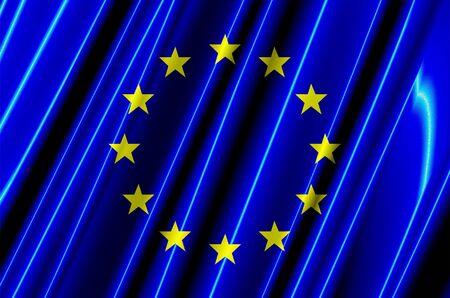 유럽의: European Union Plastic Flag 스톡 사진