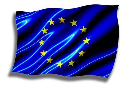유럽의: European Union Shiny Flag Waving