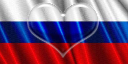 corazon cristal: Rusia Bandera Coraz�n de Cristal Foto de archivo