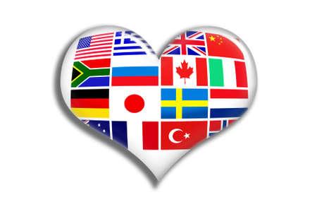 Flags shiny heart photo