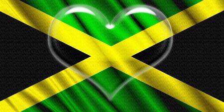 jamaica: Jamaica Flag crystal heart Stock Photo