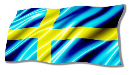 sweden flag: Sweden Shiny Waving Flag Stock Photo