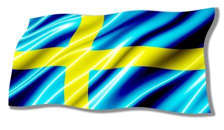 sweden flag: Sweden Shiny Waving Flag Stock Photo