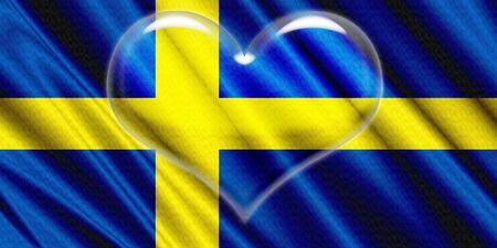 corazon cristal: Suecia Bandera de cristal del coraz�n