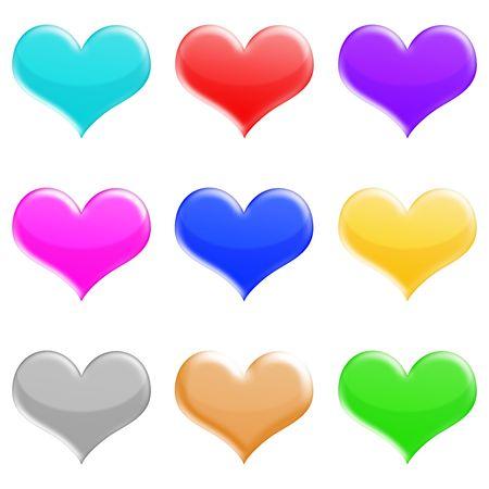 shiny: shiny hearts icons set