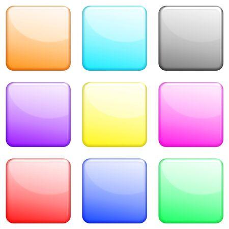square: Shiny square icons set Stock Photo