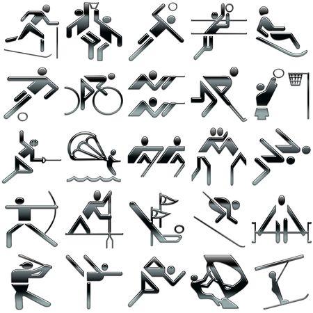 icon set: black sports icons set Stock Photo