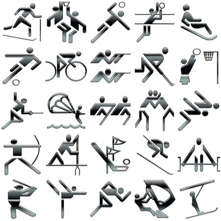 black sports icons set Banco de Imagens