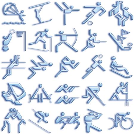 people icon: bluish sports icons set Stock Photo