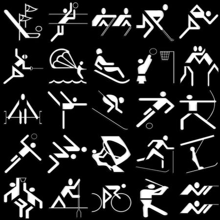 sports white icons set