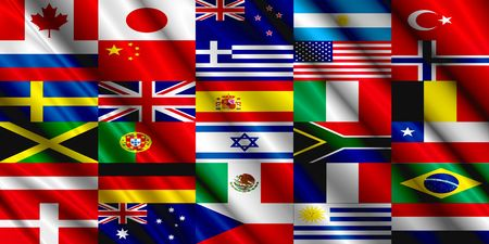 Seda de la bandera de los países Editorial