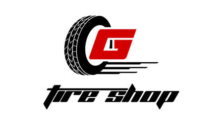 Tyre Shop Logo Design - Tyre Business Branding, tyre logo shop icons, tire icons, car tire simple icons - Vector Illustration