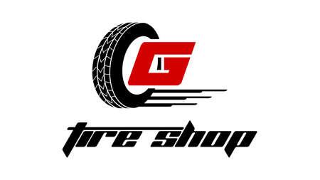Tire Shop Logo Design - Tire Business Branding, icônes de magasin de logo de pneu, icônes de pneu, icônes simples de pneu de voiture - Vector Logo