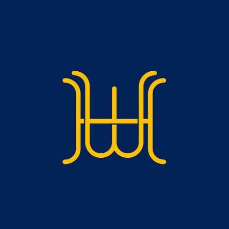 W H initial letter  design Ilustrace