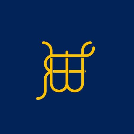 W F initial letter  design