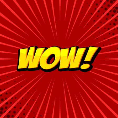 Wow! comic word. Wow! wording sound effect set design for comic background. Yellow text red background. Ilustrace