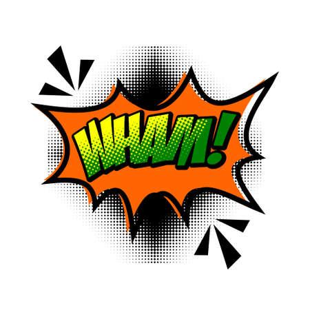 WHAM! comic word. WHAM! wording sound effect set design for comic background Ilustrace