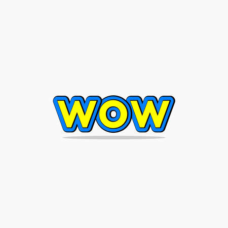 wow custom text yellow and blue colors Ilustrace