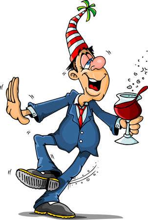 Drunken man at party Vettoriali