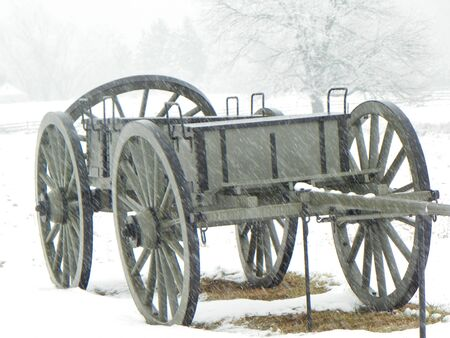 civil war wagon in the snow photo