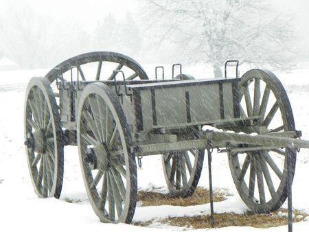 gettysburg battlefield: civil war wagon in the snow Stock Photo