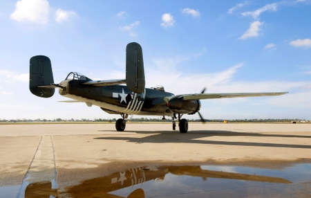 world war two: A World War Two era bomber taxis towards the runway Editorial