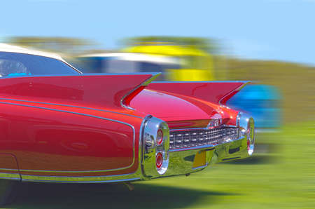 outrageous: Tailfins and chrome on a late 1950s era American automobile