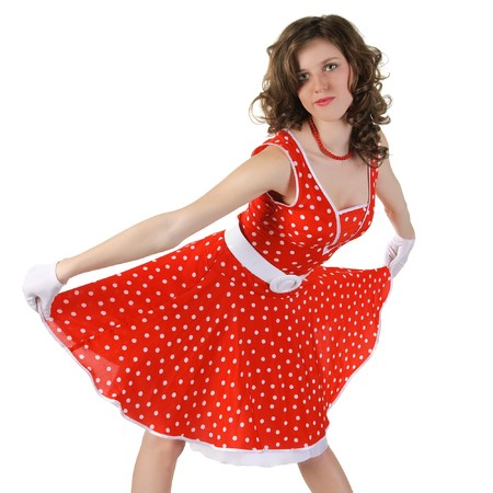 beautiful girl  in red dress. Isoladed over white.