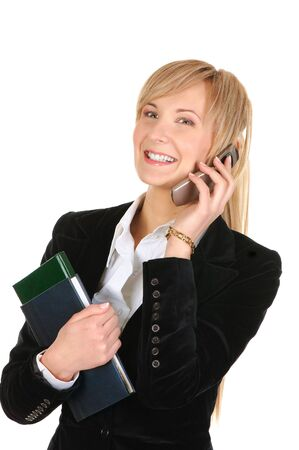 business woman calling by phone. Isolated over white. photo