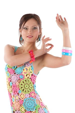 bellydancing: young woman dancing on white background