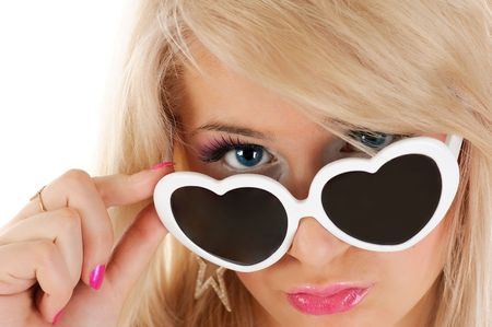 glasses model: Pretty young girl in white sun glasses. white background.
