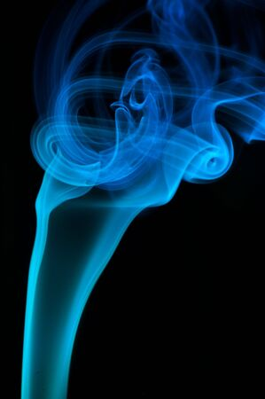 bstract: bstract blue smoke over black background  Stock Photo