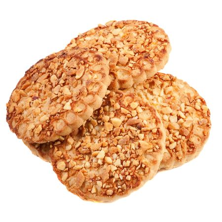 Cookies with a nut crumb. Isolated over white photo