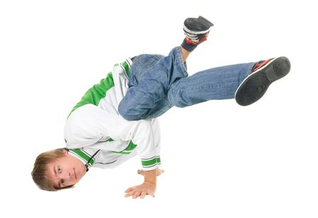 young  breakdancer posing. Isolated over white background. Stock Photo - 5510770