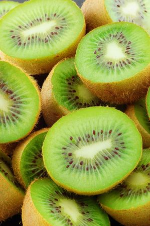 Food Kiwi Fruit slices. Close-up .  photo