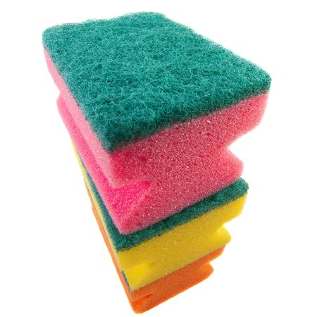 orange washcloth: three colorful sponges. Isolated over white. Stock Photo